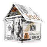 Pomarańczowy dolara dom, pieniądze budynek odizolowywający na białym tle Obraz Stock