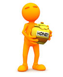 Pomarańczowy facet: Mienie Miodowy garnek Zdjęcia Royalty Free