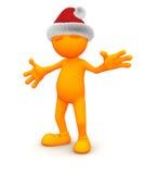 Pomarańczowy facet: Pozować z Santa kapeluszem ilustracja wektor