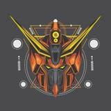 pomarańczowy gundam i święta geometria ilustracja wektor