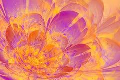 Pomarańczowy i fiołkowy Fractal kwiat Fotografia Royalty Free