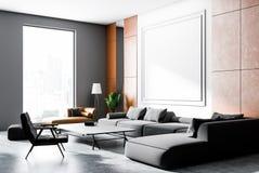 Pomarańczowy i szary żywy pokój, szara kanapa ilustracja wektor