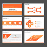 Pomarańczowy infographic element i ikony prezentaci szablonów płaski projekt ustawiamy dla broszurki ulotki ulotki strony interne Zdjęcia Royalty Free