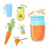 Pomarańczowy koktajl dla zdrowego życia Smoothies z avocado, marchewki, miodowej i tirmeric pikantnością, Przepisu jarosz organic Obraz Royalty Free