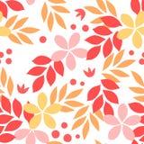 Pomarańczowy kolor żółty bezszwowy wzór, ponowni jesień liście i kwiaty, wektor Fotografia Stock