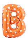 Pomarańczowy koloru listu b robić nadmuchiwany balon Zdjęcie Stock