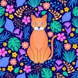 Pomarańczowy kot i tropikalni kwiaty royalty ilustracja