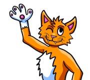 Pomarańczowy kota falowanie Cześć ilustracja wektor