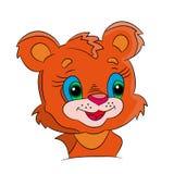 Pomarańczowy kreskówki dziecka lew przy białym tłem ilustracja wektor