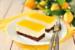 Pomarańczowy kwarka tort Obraz Stock