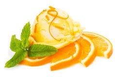 Pomarańczowy lody z owoc i zapałem zdjęcia royalty free