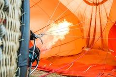 Pomarańczowy lotniczego balonu ogień Zdjęcia Royalty Free