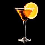 Pomarańczowy Margareta świeży koktajl odizolowywający na czerni zdjęcie stock