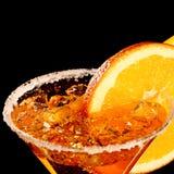 Pomarańczowy Margareta świeży koktajl odizolowywający na czerni fotografia stock