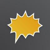 Pomarańczowy mowa bąbel dla wrzasku przy zaokrąglonym barbed kształtem Zdjęcia Stock