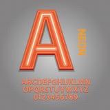 Pomarańczowy Neonowy abecadło i liczby Wektorowi ilustracja wektor