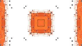 Pomarańczowy niski poli- geometryczny abstrakcjonistyczny tło jako poruszający witrażu lub kalejdoskopu skutek w 4k Pętli 3d anim zbiory wideo
