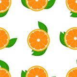 Pomarańczowy owocowy bezszwowy z liściem Wysokości wyszczególniać pokrojone pomarańcze Płaska koloru wektoru ilustracja ilustracja wektor
