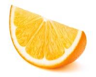 Pomarańczowy owocowy plasterek odizolowywający na bielu obrazy royalty free