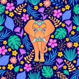 Pomarańczowy słoń i tropikalni kwiaty royalty ilustracja