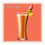 Pomarańczowy smoothie z świeżymi owoc ilustracji