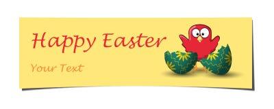 Pomarańczowy sztandar fryzujący Easter kurczak łamający jajko Fotografia Stock