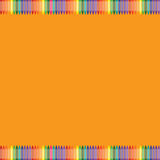 Pomarańczowy tło z kolorową kredki granicą Obrazy Stock