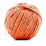Pomarańczowy tradycyjny gejtaw, szwalna przędzy piłka odizolowywająca na białym tle Obrazy Royalty Free