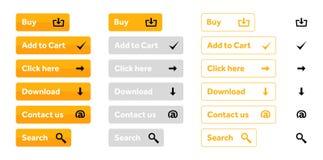 Pomarańczowy ustawiający sieć guziki z ikonami Obraz Royalty Free