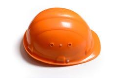Pomarańczowy Zbawczego hełma kapelusz odizolowywający na białym tle obraz stock