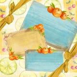 Pomarańcze deski ramy faborki Obraz Royalty Free