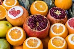 Pomarańcze, granatowowie, Grapefruitowi Obrazy Royalty Free