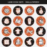 Pomarańcze i Brown ikony Halloweenowy set royalty ilustracja