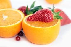 Pomarańcze i truskawka Obrazy Royalty Free