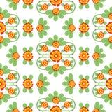 Pomarańcze i zieleni wektoru Kwiecisty Ludowy wzór obrazy stock