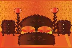 Pomarańczowa sypialnia royalty ilustracja