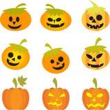 Pomarańczowe Halloweenowe Dekoracyjne Dyniowe ilustracje Obrazy Royalty Free