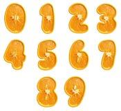 Pomarańczowe owoc liczby. Obrazy Royalty Free