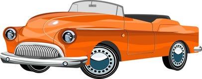 Pomarańczowego koloru Retro rocznika stary samochód na drodze, royalty ilustracja