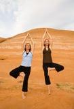 pomarańczowy do jogi rock dwie kobiety. Obraz Royalty Free