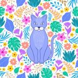 Pomara?czowy kot i tropikalni kwiaty ilustracja wektor