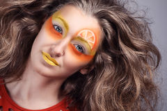 Pomarańczowy soczysty makeup Fotografia Stock