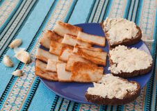 Pomazuha traditional bread spread made of lard of rye bread in Ukraine Royalty Free Stock Photography
