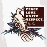 Pomba com Olive Branch Peace Symbol Illustration ilustração do vetor