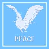 Pomba da ilustração do vetor da paz Pássaro isolado na luz - fundo azul Imagem de Stock Royalty Free