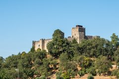 Exterior of the Pombal Castle. Pombal, Portugal - September 22, 2018 : Exterior of the Pombal Castle Leiria District, Portugal royalty free stock photography