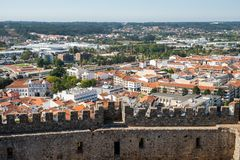 View of the city Pombal. Pombal, Portugal - September 22, 2018 : View of the city from inside the Castle of Pombal Leiria District, Portugal royalty free stock photos