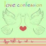 Pombas bonitas Imagem do vetor Cartão com uma declaração do amor Imagem de Stock Royalty Free