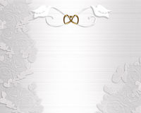 Pombas do branco do convite do casamento Fotografia de Stock Royalty Free