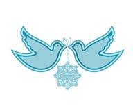 Pombas e floco de neve Fotos de Stock